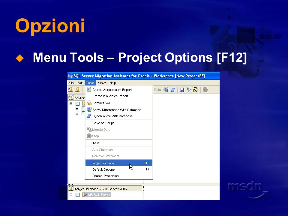 Opzioni Menu Tools – Project Options [F12]